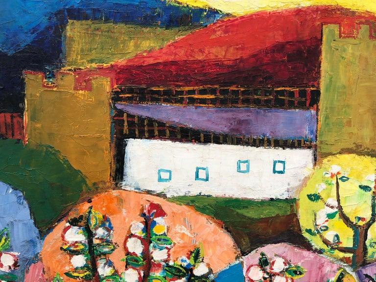Palau Ferre, Landscape Montblanch Spain - original oil painting - Black Landscape Painting by Matías Palau Ferré