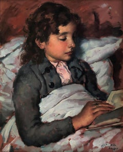 "Vila Arrufat, Nena llegint ""girl reading"" - original oil canvas painting"