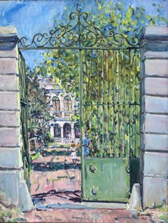 Josep Amat, Barcelona mansion - original oil painting landscape