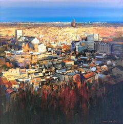 Barcelona desde el Putxet - Josep Marfa original oil canvas painting