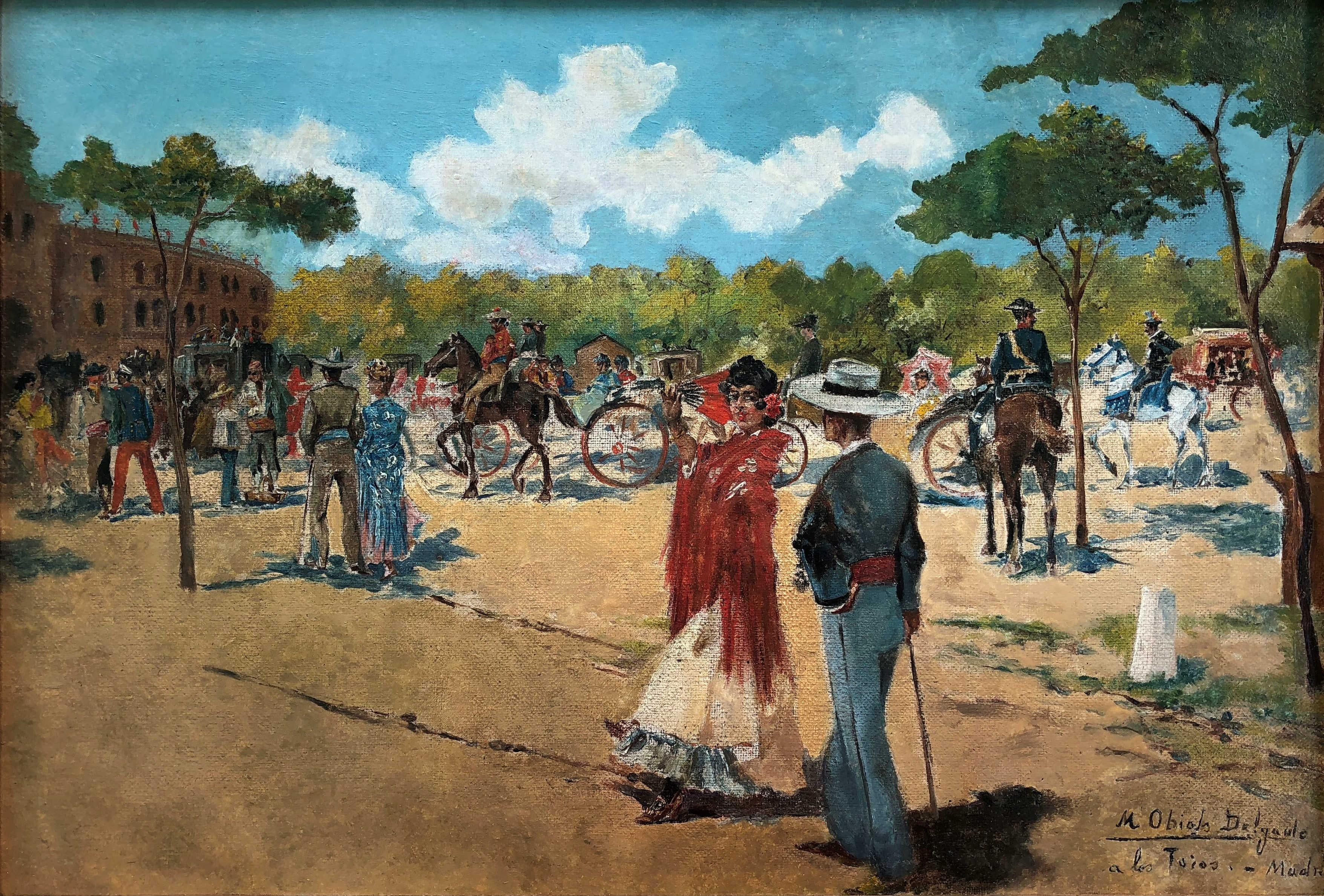 Going to bullfight, Madrid Spain - original oil canvas painting