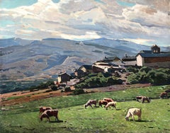 Josep Puigdengolas - Pyrenean village, Cerdaña, Spain - original oil painting