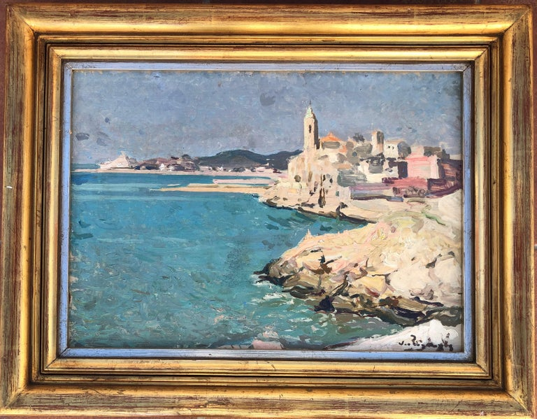 Josep Puigdengolas view of Sitges Spanish seascape oil painting - Post-Impressionist Painting by Josep Puigdengolas