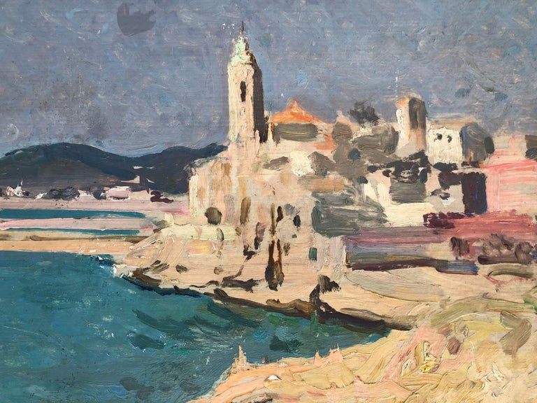 Josep Puigdengolas view of Sitges Spanish seascape oil painting For Sale 1