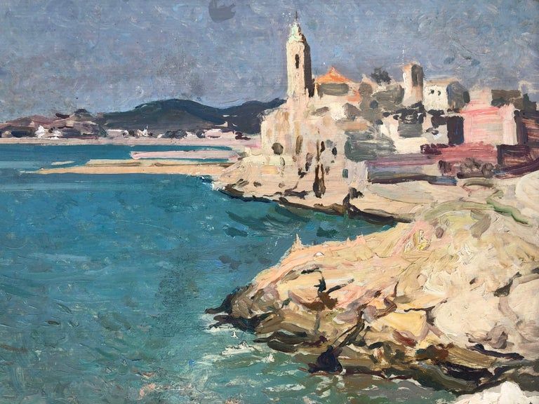 Josep Puigdengolas view of Sitges Spanish seascape oil painting For Sale 4