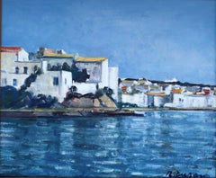 Mediterranean village - Spanish Oil on Canvas Sea Landscape Painting