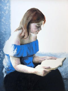 "La lectora - ""The reader"" - Spanish figure oil painting, Jose Arimany original"