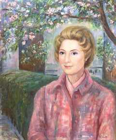 Angeles Santos - Woman in the garden - oil painting on canvas