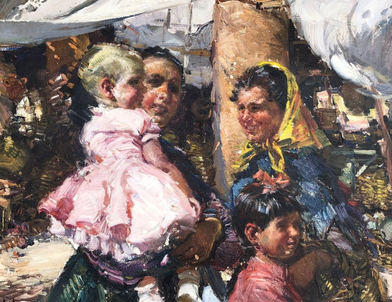 Spanish people from Ibiza, Balearian Islands oil on canvas painting - Painting by Ignacio Gil Sala