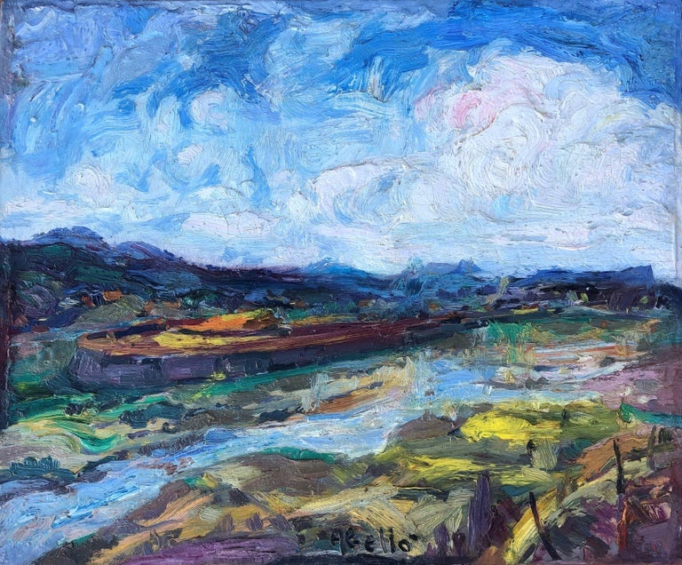 Joan Abello Prat Landscape Painting - Joan Abello - Montacada landscape, Spain - original oil canvas painting