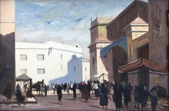 Rafael Durancamps - Sitges hall town square, Spain, oil canvas painting