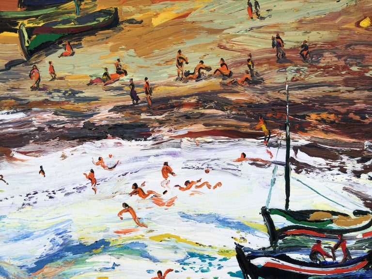Joan Abello - Beach's day, spanish original oil canvas painting seascape For Sale 4