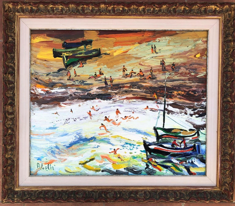 Joan Abello - Beach's day, spanish original oil canvas painting seascape - Painting by Joan Abello Prat