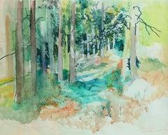 Grau Sala original landscape watercolor Font Romeu 1971