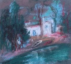 Tarrasso spanish landscape original pastel drawing