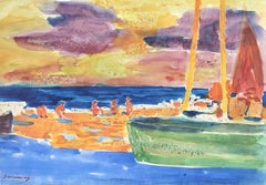 Ramon Sanvisens spanish seascape original watercolor