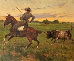 Joaquin Terruella bullfighting scene spanish landscape oil painting