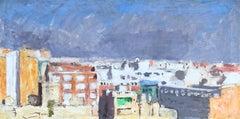 Roca Sastre landscape view Barcelona original oil canvas painting 1971