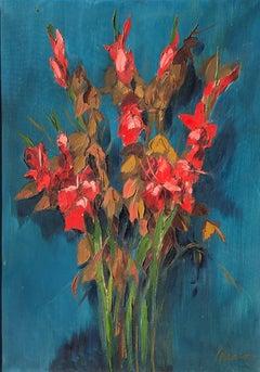 Serrano flowers still life original oil canvas painting