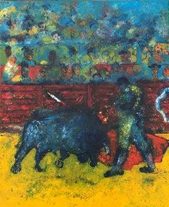 Ulpiano Carrasco bullfighter scene original oil canvas painting