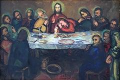 Joan Abello the Holy dinner original oil painting 1954 religious scene