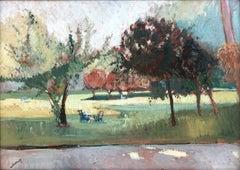 Rafael Durancamps gardens of Paris original landscape oil painting c.1923