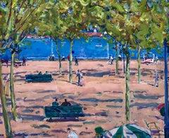 Josep Amat spanish cosat landscape seascape original oil painting 1965