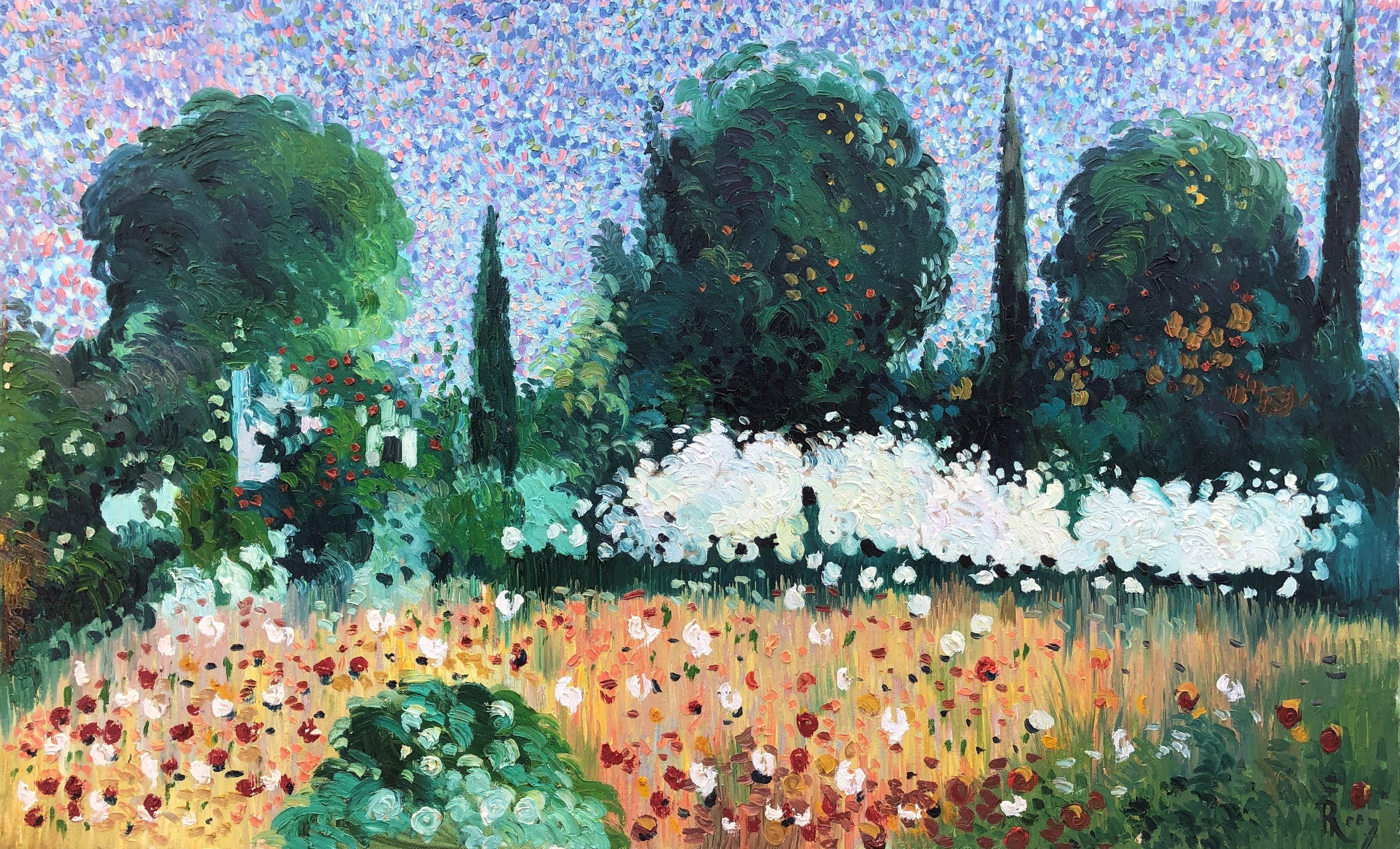 Ramon Barril pointillist landscape original spanish painting oil canvas 2007