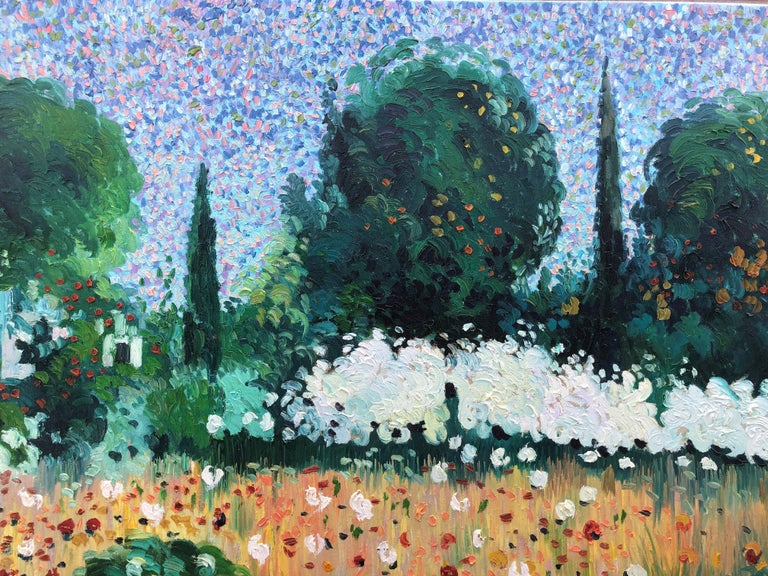 Ramon Barril pointillist landscape original spanish painting oil canvas 2007 For Sale 3