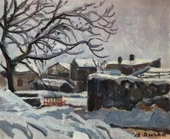 Rafael Duran spanish snow landscape original oil painting 2004