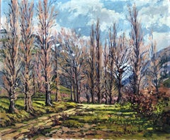 Landscape of Jaca, Spain, original oil on canvas painting c.1970