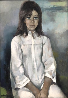 Female figure of young girl original oil on board 1976
