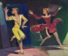 Ballet scene original acrylic painting 1954