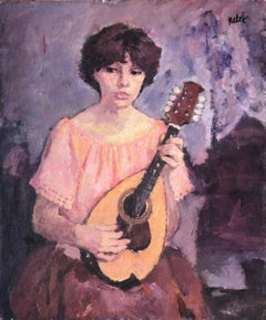 Joan Palet Woman playing the lute oil on canvas paintin