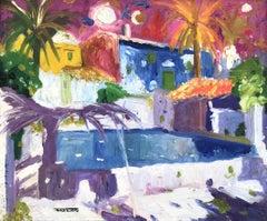 Badalona Spain landscape oil on canvas painting