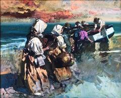 Valencia Beach original oil on canvas seascape