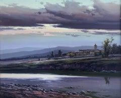 Spanish landscape original oil on canvas painting c.1990