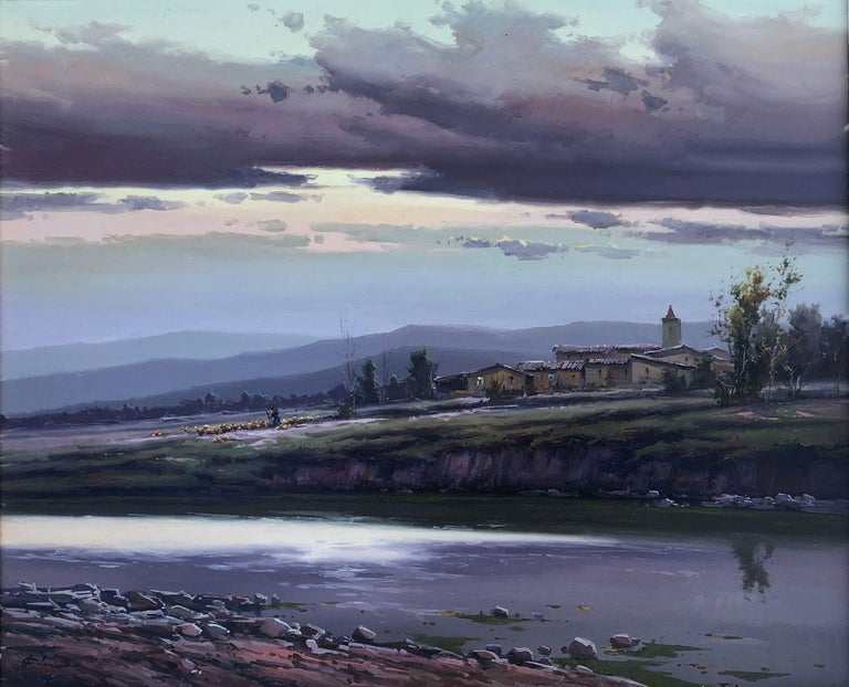 Josep Colomer Landscape Painting - Spanish landscape original oil on canvas painting c.1990
