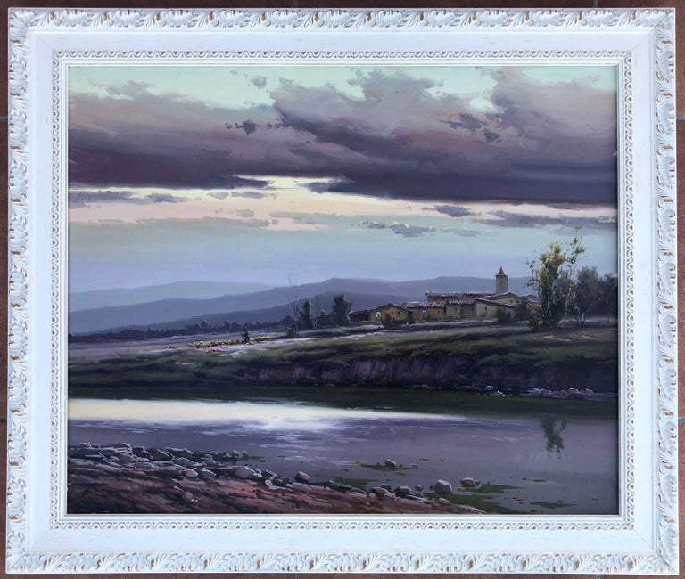Spanish landscape original oil on canvas painting c.1990 - Painting by Josep Colomer