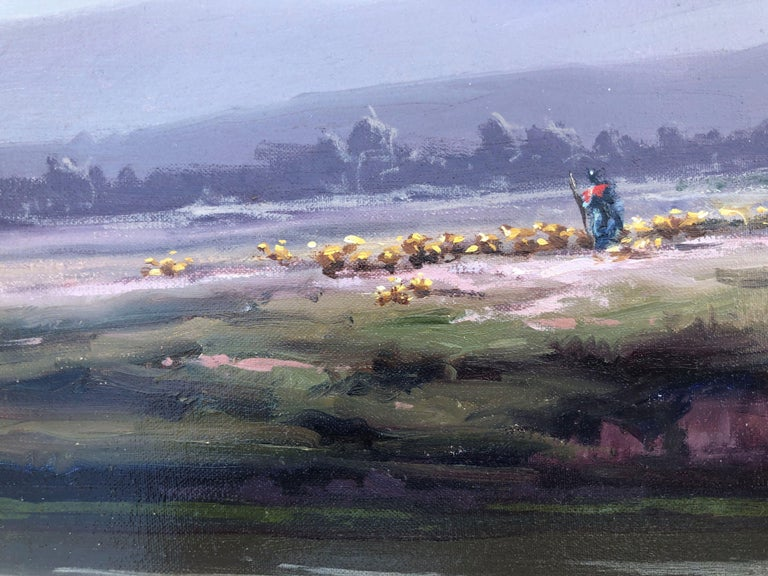 Spanish landscape original oil on canvas painting c.1990 - Gray Landscape Painting by Josep Colomer