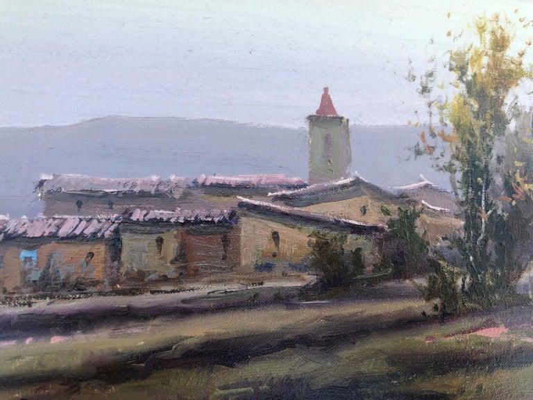 Spanish landscape original oil on canvas painting c.1990 For Sale 1