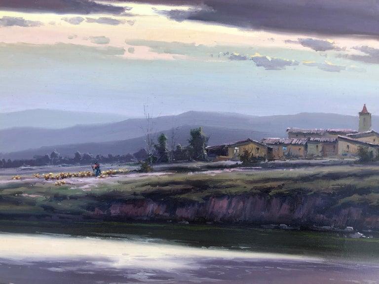Spanish landscape original oil on canvas painting c.1990 For Sale 4