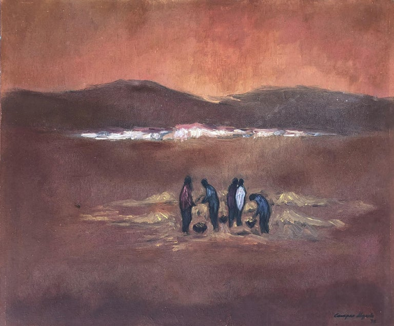 Emilio Campos Ugarte Landscape Painting - Picking up the planting original oil on canvas landscape 1978