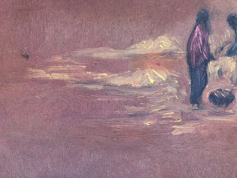 Picking up the planting original oil on canvas landscape 1978 For Sale 1