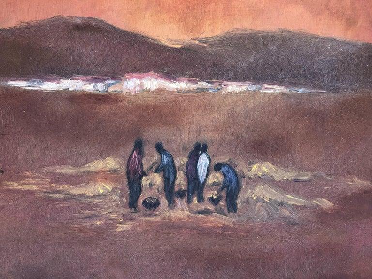 Picking up the planting original oil on canvas landscape 1978 For Sale 2