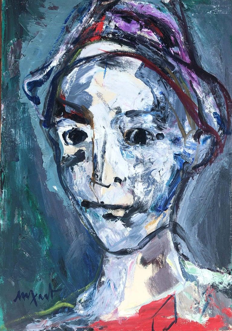 Jaume Muxart Domenech Portrait Painting - Clown portrait original oil on canvas painting c.1980