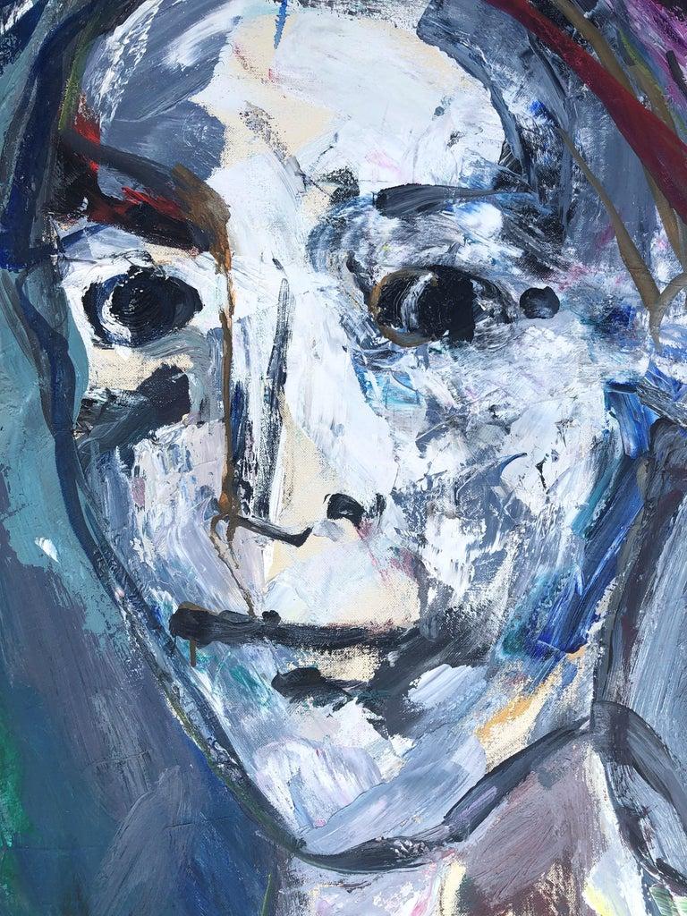 Clown portrait original oil on canvas painting c.1980 For Sale 3