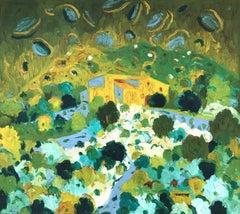 Spanish landscape Mallorca original oil on canvas painting c.1970