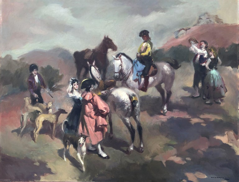 Manuel Monedero Animal Painting - Goyesque scene original oil on canvas painting c.1972