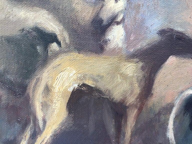 Goyesque scene original oil on canvas painting c.1972 For Sale 4